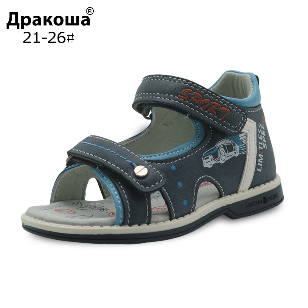 Apakowa Brand Summer Baby Boys Shoes Pu Leather Toddler Kids Sandals Orthopedic New Flat Children's Shoes for Boys Eur 21-26