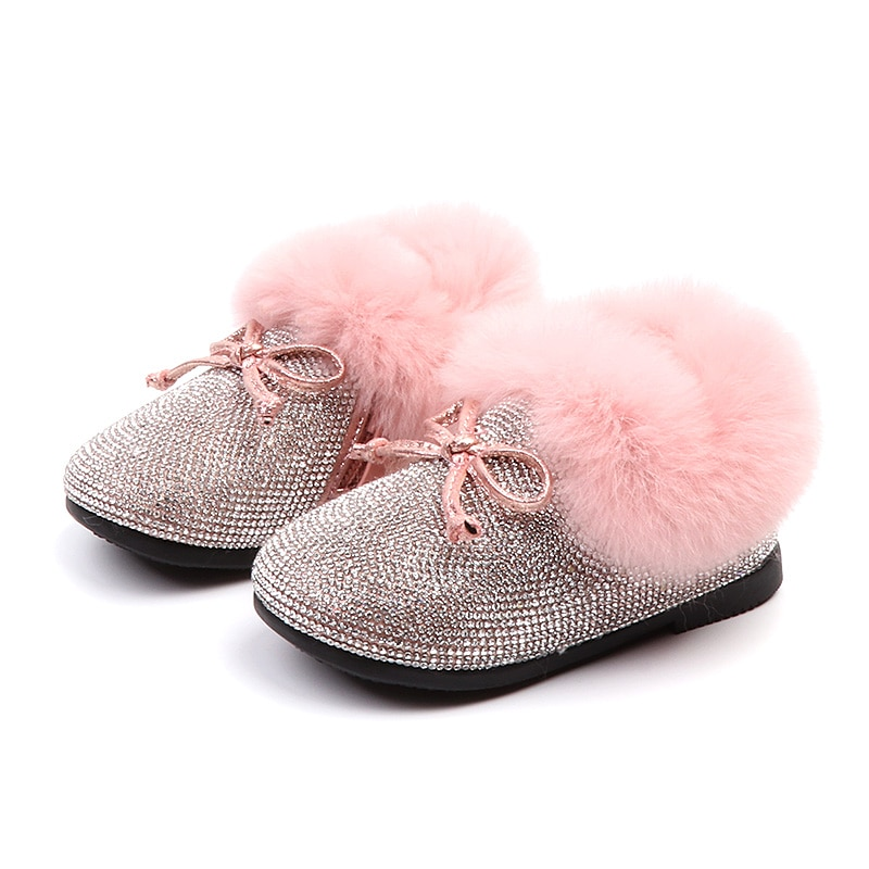 Bling Crystal Girls boots 2018 New Warm Winter Kids Fur Shoes Cute Bow Knot Toddler Baby Princess Shoe Pink Black 1 2 3 years
