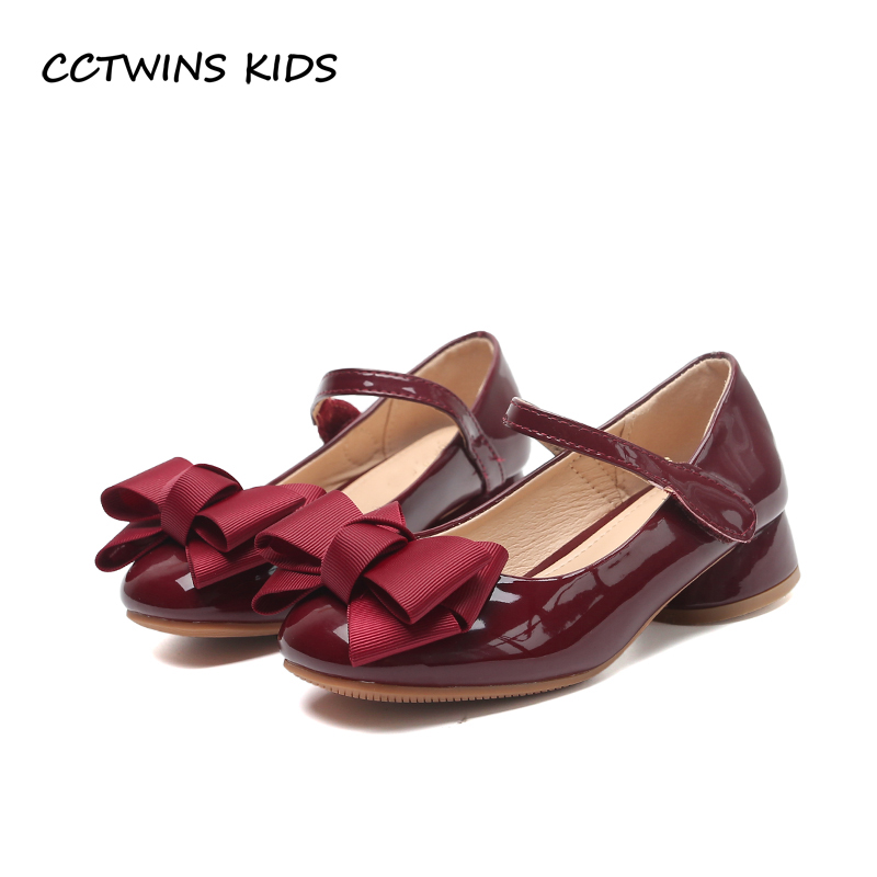 CCTWINS KIDS 2017 Baby Girl Party Princess Toddler Bow Pink Pu Leather Shoe Children Mid Heel Kid Fashion Black Shoe G1126
