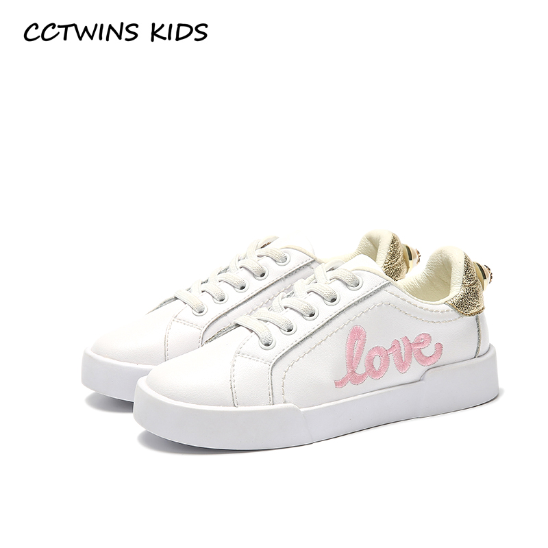 CCTWINS KIDS 2017 Children Genuine Leather Sport Trainer Baby Girl Kid Pearl Casual Flat Toddler Fashion Embroidery Shoe F1801