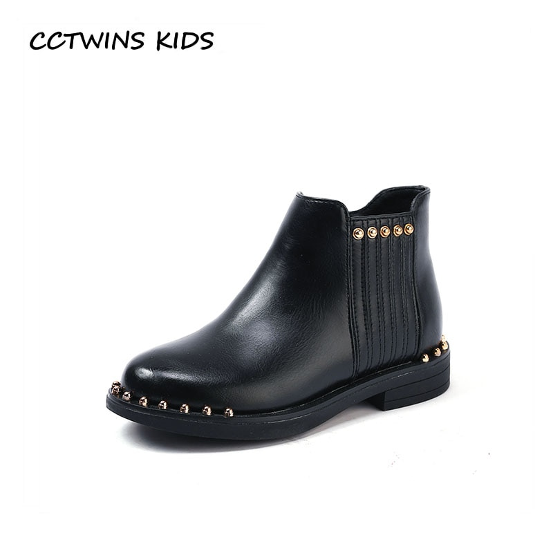 CCTWINS KIDS 2018 Autumn Children Pu Leather Ankle Boot Toddler Brand Stud Shoe Baby Girl Fashion Black Boot CF1577