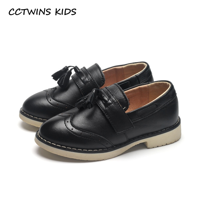 CCTWINS KIDS 2018 Autumn Fashion Children Tassel Black Loafer Baby Girl Genuine Leather Slip-On Shoes Kid Fringe Flats GL1968