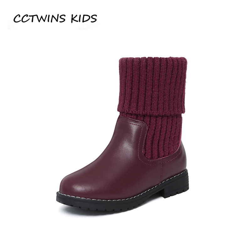 CCTWINS KIDS 2018 Winter Children Fashion Mid Calf Boot Baby Black Warm Boot Toddler Genuine Leather Shoe Girl CF1542