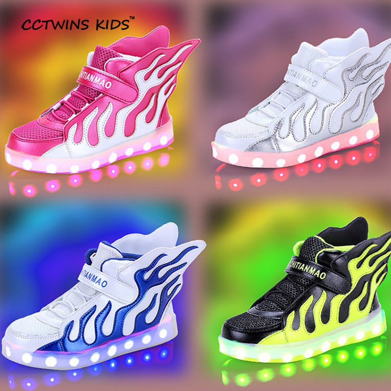 CCTWINS KIDS spring autumn girl led wing lighted sneaker child pu leather shoe baby boy brand USB Rechargeable trainer F1194