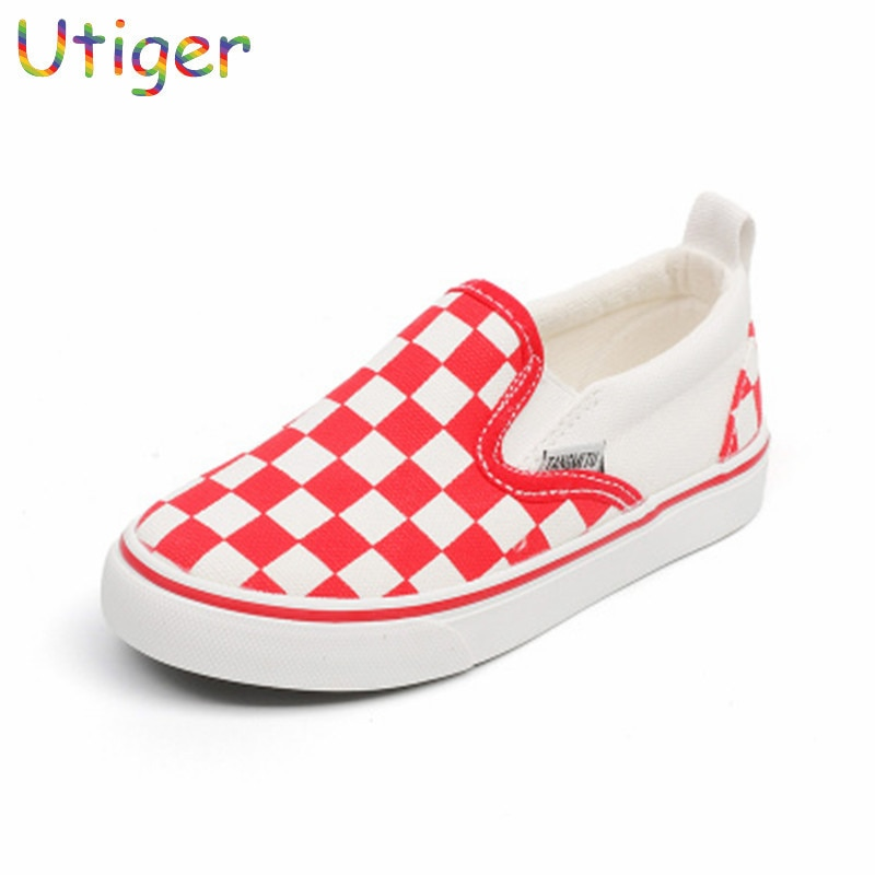 Children Girl Fashion Spring Plaid Shoes Breathable Baby Boy Girl Canvas Casual Sneaker Kids Girl Sport Shoes For Child Trainer