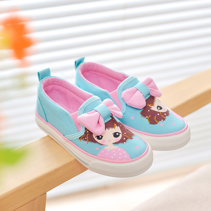 Children Sneakers Girls Canvas Shoes Elastic Casual Baby Shoes Girls Princess Shoes Brand Kids Denim Student Child Flat Shoes