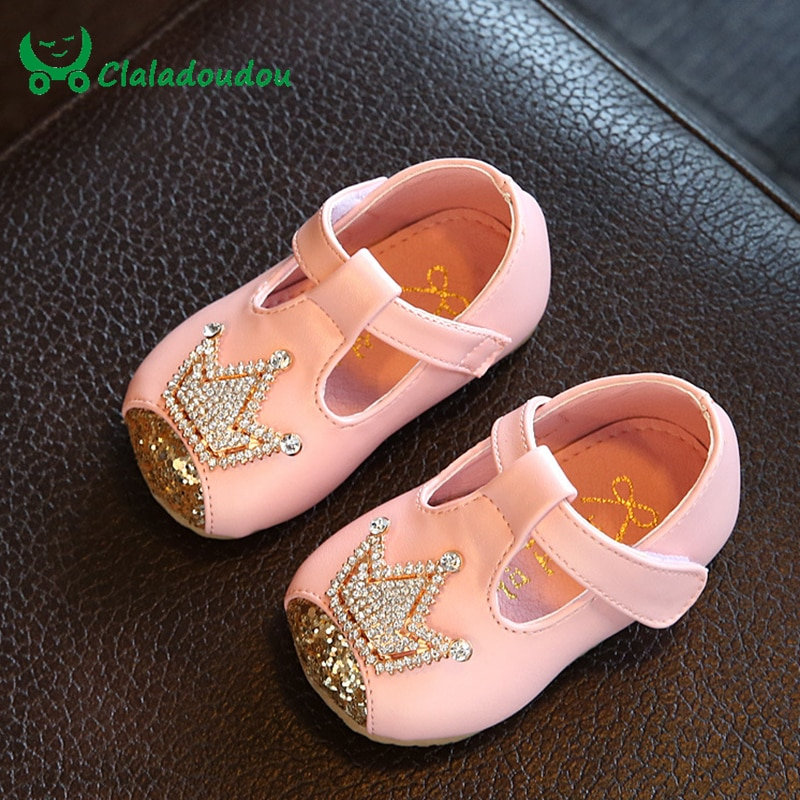 Claladoudu Baby Girl Shoes Crystal Infant Newborn Dress Shoes For Children Princess Girls Soft First Walkers Insole 10.5-15CM