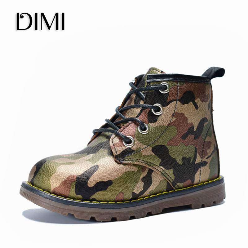 DIMI 2018 Children Boots Boys Girls PU Leather Waterproof Martin Boots Fashion Ankle Girl Baby Boots Camouflage Kids Boy Shoes
