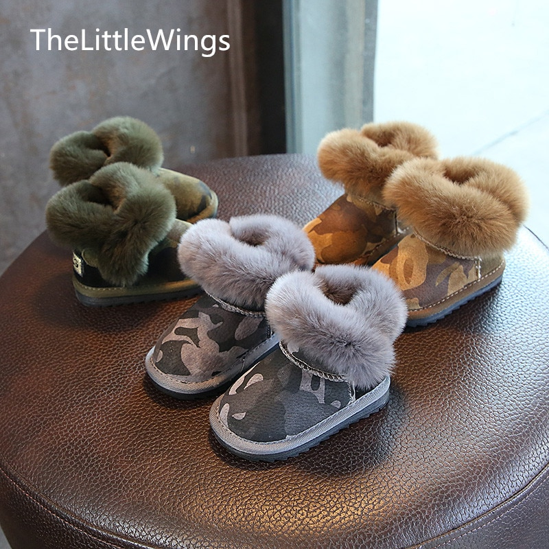 Free Shipping baby boys winter 2018 new shoes foot warmer children's Flat toddler shoes Non-slip Rabbit's hair Snow boots