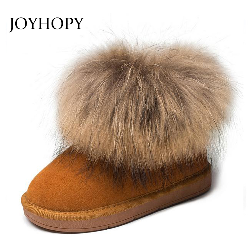 JOYHOPY Genuine leather Children Shoes Big fur Thick Warm Shoes Baby Girls Boys Snow Boots Winter Kids Shoes
