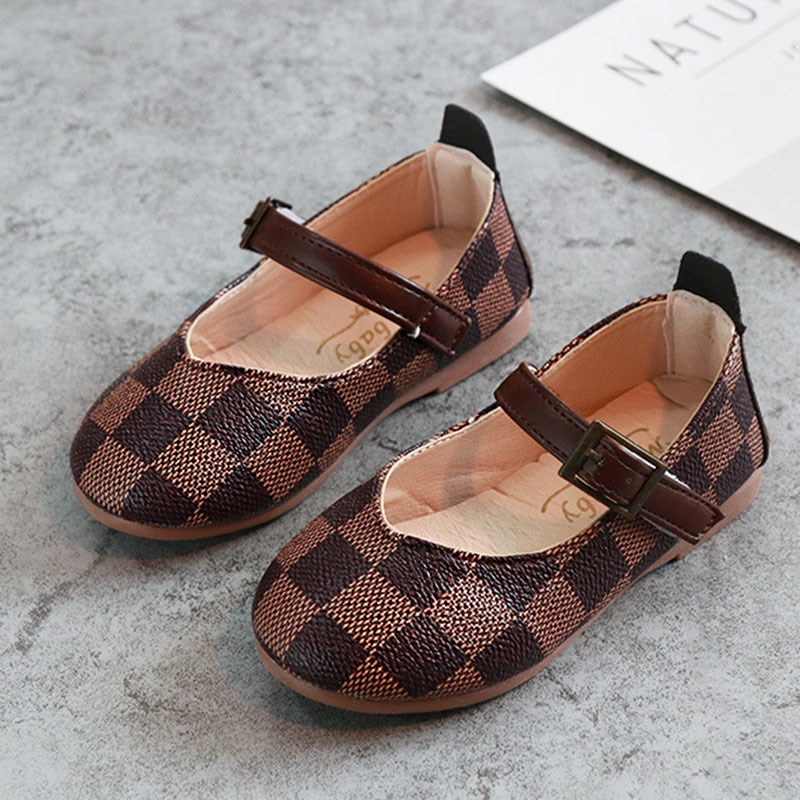 Light Weight Classic Plaid Girls Leather Shoes Low Cut Ankle Strap Flat Baby Girls Dress Shoes Kids Girls Party Shoes V309