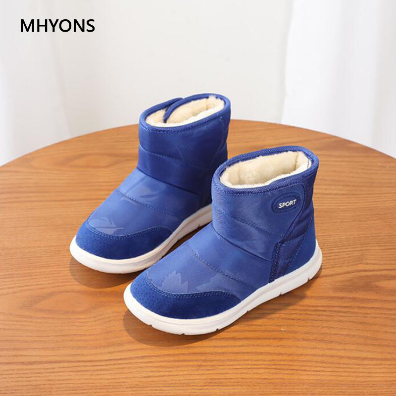 MHYONS 2018 New Baby Girls Boots Winter Warm Thick Cotton Leather Baby Botas Waterproof Infant Snow Boots Boys Bootie Kids Shoes