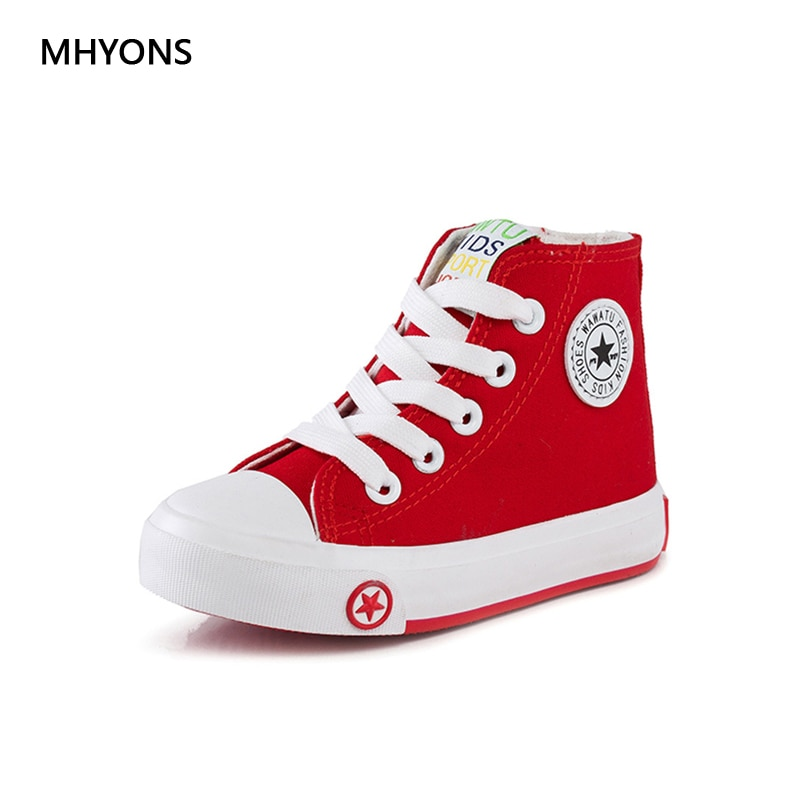 MHYONS 2018 new spring autumn children shoes girls Fashion child canvas shoes boys high shoes baby shoes white sneaker toddler