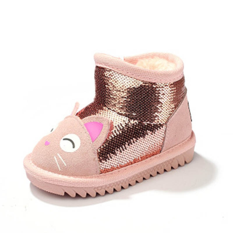 New Girls Boots Winter Shoes For Girls Snow Boot Warm Shoes Baby Girls Waterproof Shoes Cute Thicker Bling Kids Outdoor S8310