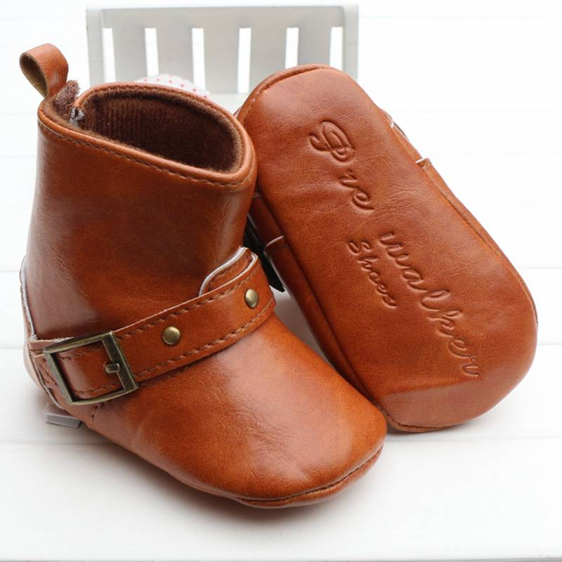 New Pu Baby Shoes Male Children's Boot Toddler Anti-Slip Sole First Walkers Casual Baby Shoes