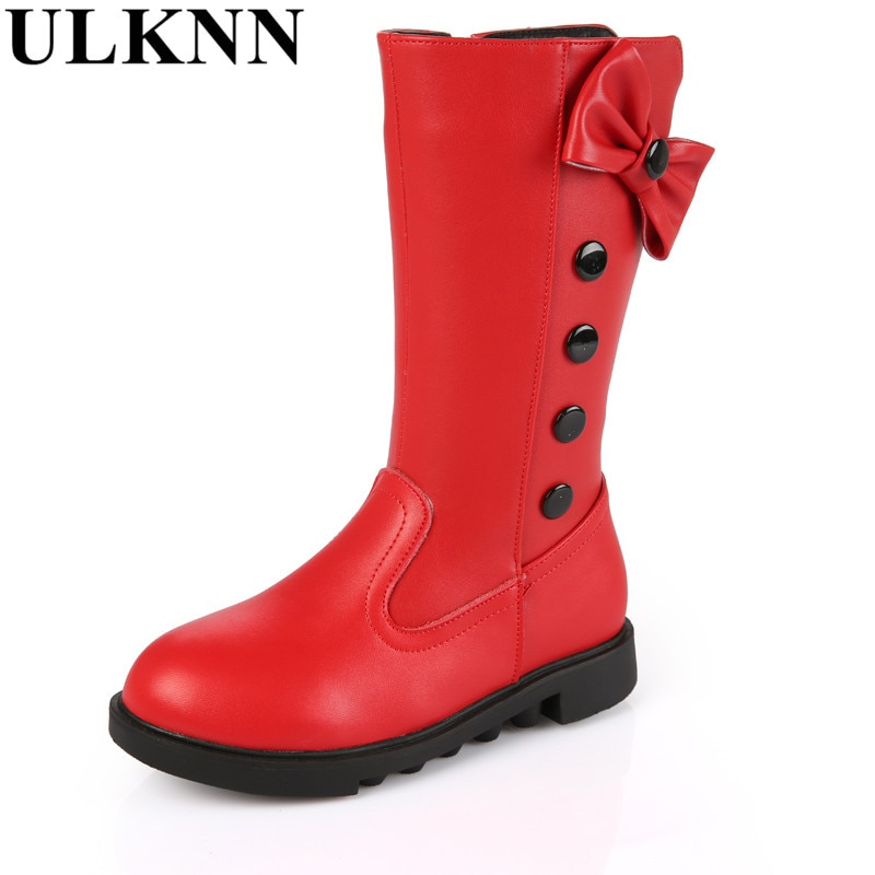 ULKNN Riding For Girls children snow boots fur winter girls flat Thicken Shoes For baby Kids child snow fashion boots red black