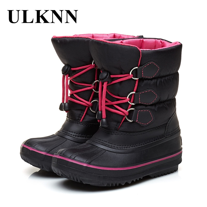 ULKNN Winter Children Boots Thick Warm Shoes For Baby Girls Boys Snow Boots Kids Shoes Plush Flat Mid Calf Waterproof boots
