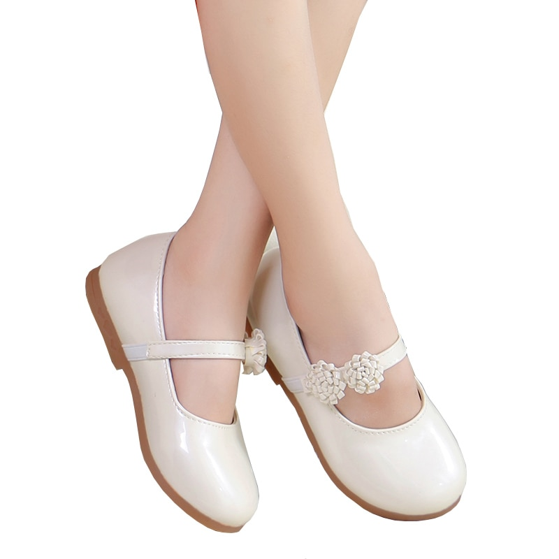 White Flower Children Little Girl Kids Leather Party And Wedding Princess Shoes For Teens Girls Baby School Dance Shoes New 2018