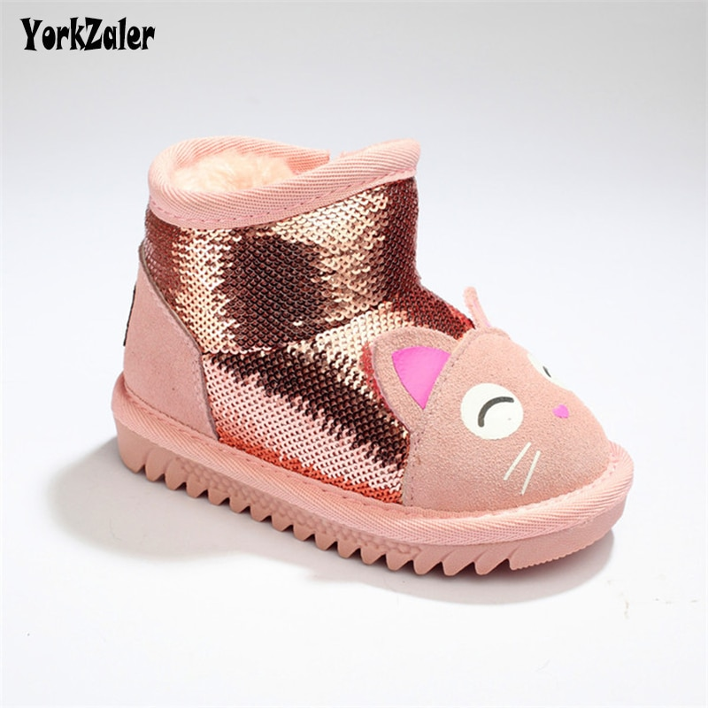 Yorkzaler Winter Kids Snow Boots For Girl Sequines Cartoon Cats High Top Children's Shoes 2018 Warm Plush Toddler Baby Boots
