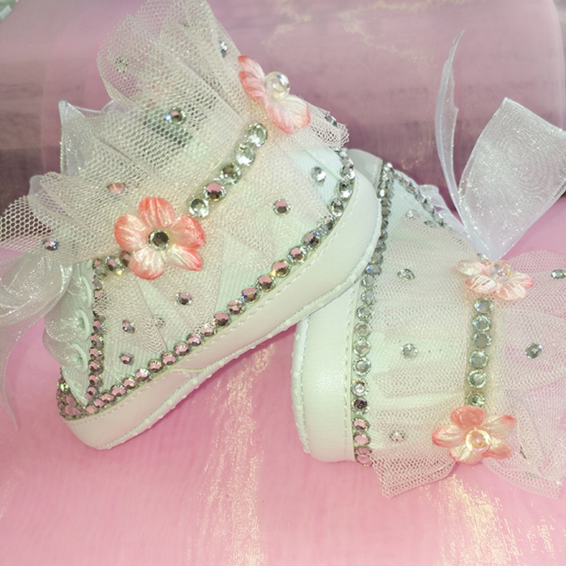 free shipping princess silver rhinestone handmade First Walkers shoes toddler bling crystal fashion baby girl shoes Lace flowers