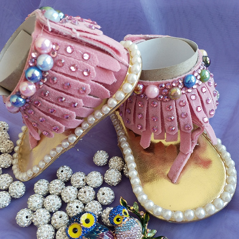 kids lovely handmade Colored pearls Rhinestone bling Baby Shoes Tassel Summer Toddler girls baby tassel baby fashion shoes