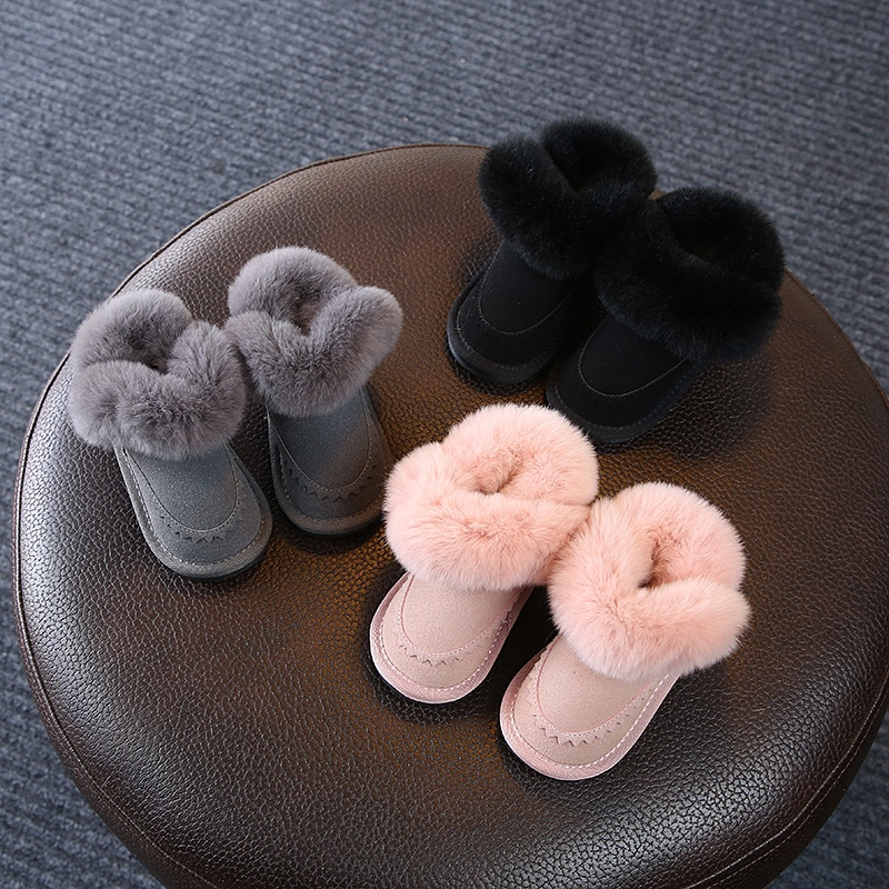 2018 winter kids Flat toddler shoes baby girls Toddler Soft Bottom foot warmer Rabbit's hair cute Snow boots 0-1 years old