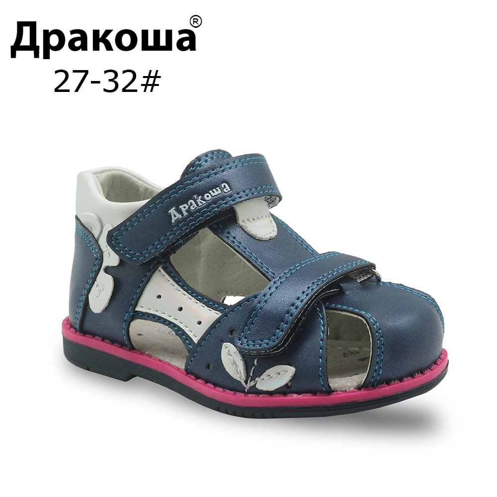Apakowa Brand Summer 2018 Girls Sandals Pu Leather Orthopedic Toddler Girls Flat Shoes Closed Toe Baby Children's Shoes Eur20-25