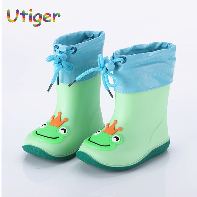 Autumn Winter Kids Boy Girl Rain Boots Warm Cotton Shoes for Child Non-slip Waterproof Girls Baby Boy Toddler shoes Rubber Boot
