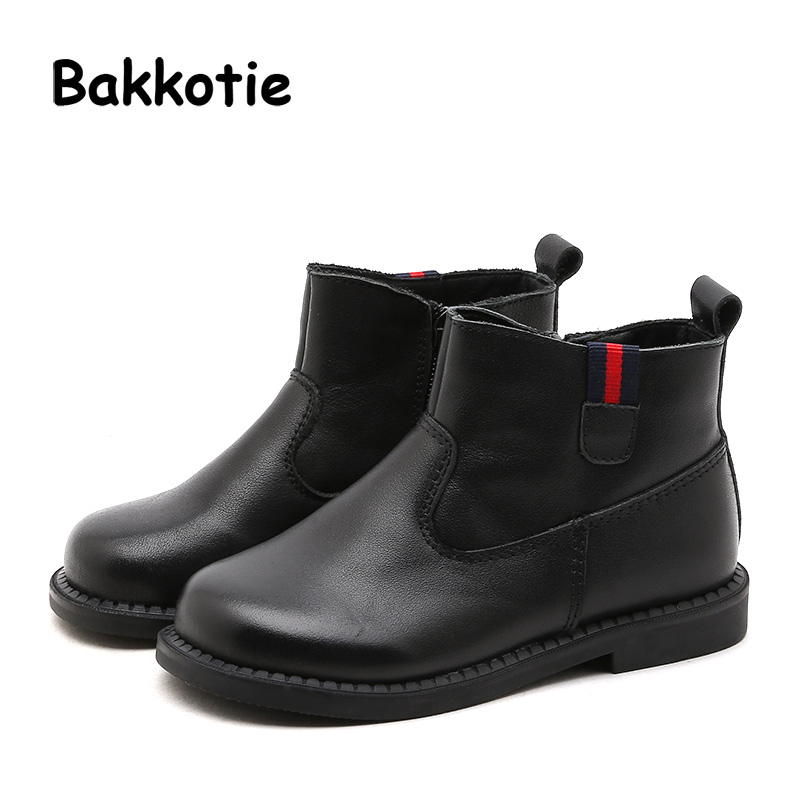 Bakkotie 2018 Winter New Fashion Children Black Warm Shoes Kid Genuine Leather Brand Shoes Baby Girl Soft Boots Boy Ankle Shoes