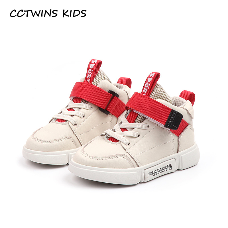 CCTWINS KIDS 2018 Autumn Boy High Top Sneaker Baby Girl Pu Leather Casual Trainer Children Fashion Sport Shoe FH2216
