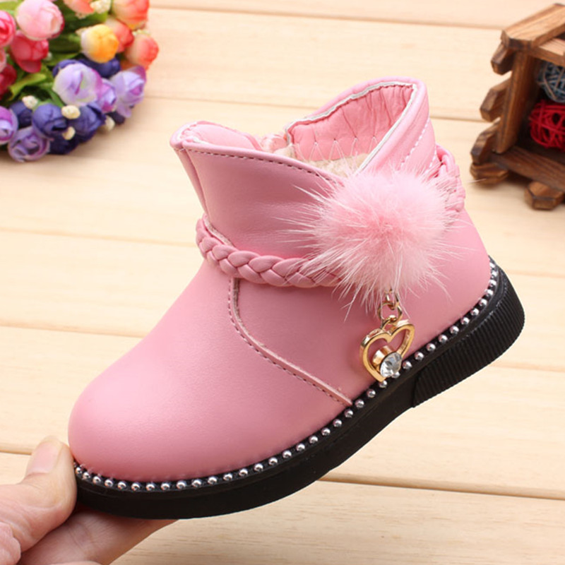 Children Baby Boots For Girl Toddler Shoes Autumn/winter Kids Cotton Shoes Girls Plush Velvet Princess Boots 1-2-3 Years Old