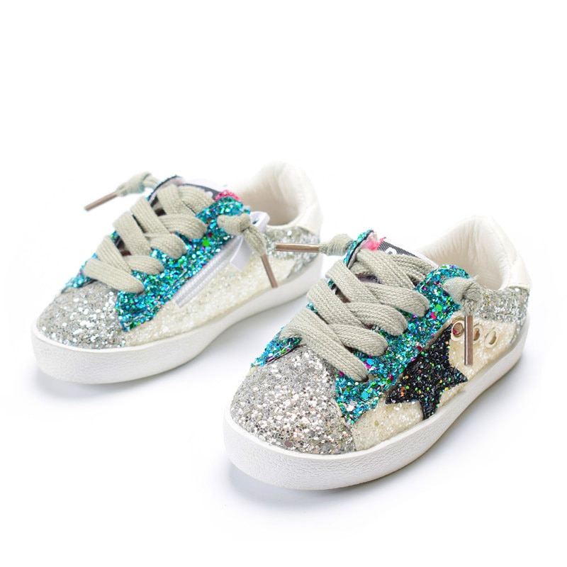 DIMI 2018 Fashion Children Shoes Girls Boys Casual Sport Shoes Shiny Sequins Breathable Baby Sneakers Soft Kids Shoes For Girl
