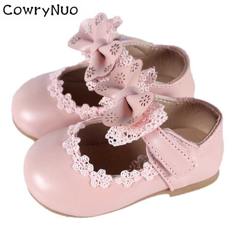 Insole 11.5-18.5cm New Baby Kid Girl Enfant Lace Bowknot Princess PU Leather Shoes