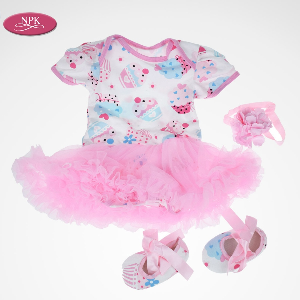 NPK Baby Girl Clothes Fit 20-23inch Full Body Silicone Reborn Doll Lovely Pink Princess Short Skirt Shoes Handband Lace Dress