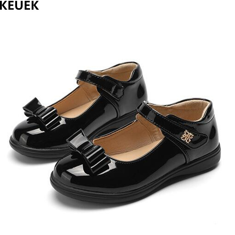 New Spring/Autumn Children Uniform Shoes Girls Baby Black Bowtie Leather Shoes Kids Student School Dance Casual Toddler Flats 03