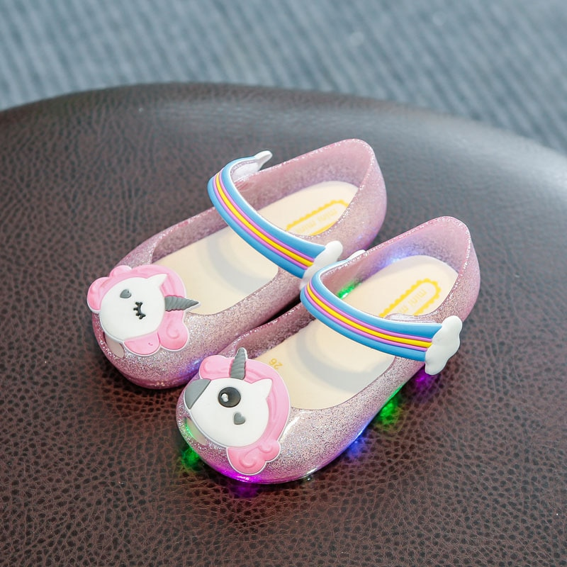 New style Melisa 2018 summer new light shinning unicorn rainbow jelley sandals shoes for 13-15.5cm baby summer