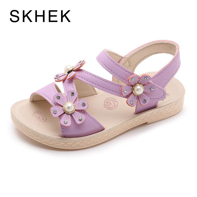SKHEK Flat white Sandals For Girls 2018 New Student Princess shoes Fashion Baby Sandals Baby White Summer Flat Sandalies