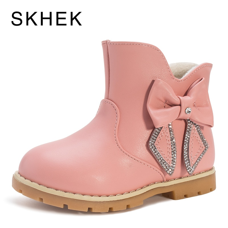 SKHEK Kids Rain Winter Girl Boots Shoes Baby Winter Kids Shoes For Girl Boys Leather Non-Slip Warm Fashion Trend Of Boots G3356