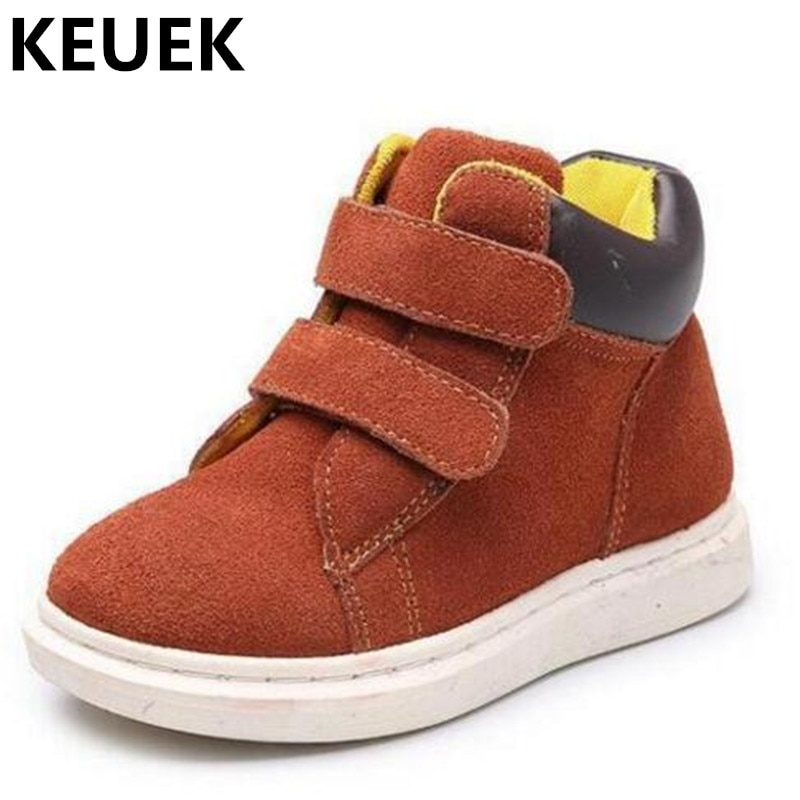 Spring/Autumn Fashion High Children Shoes Boys Girls Genuine Leather Sneakers Student Baby Breathable Single Shoes Kids Flats 04