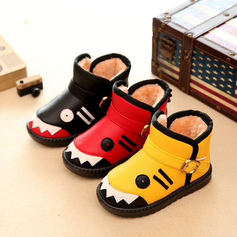 Winter Children 'S Snow Boots For Boys Cartoon Sharks Shoes Girls Plush Thickening Warm Waterproof Shoes Kids Baby Boots