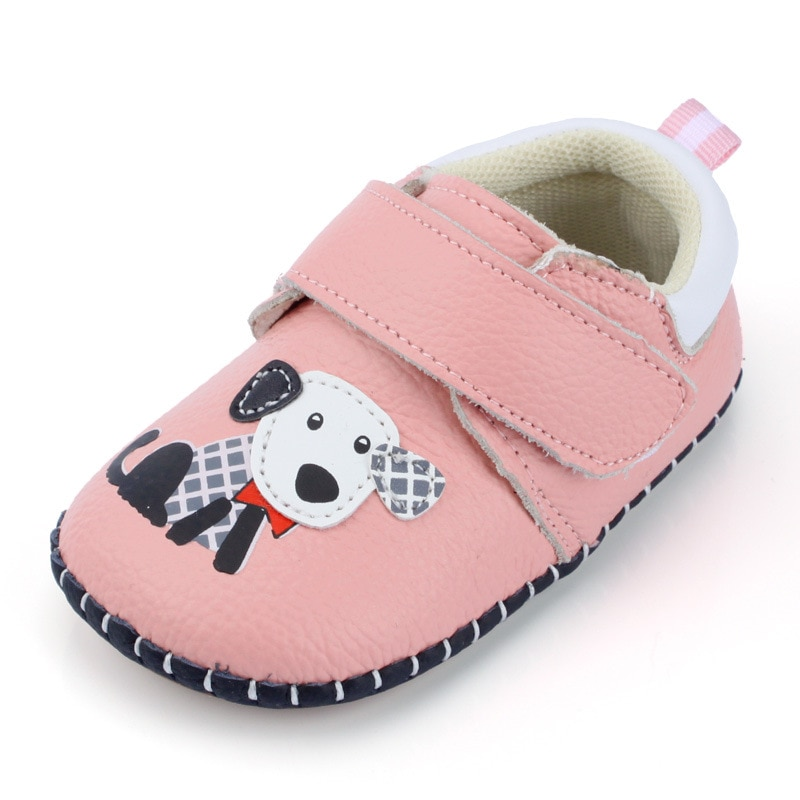 XQT.GZ 2018 Spring Baby Shoes Genuine Leather Baby Girl Shoes Cute Cartoon Dog First Walkers Soft Sole Toddler Baby Boy Shoes